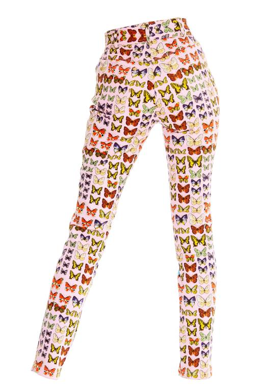 Gianni Versace Couture Iconic Butterfly Jeans In Excellent Condition For Sale In New York, NY