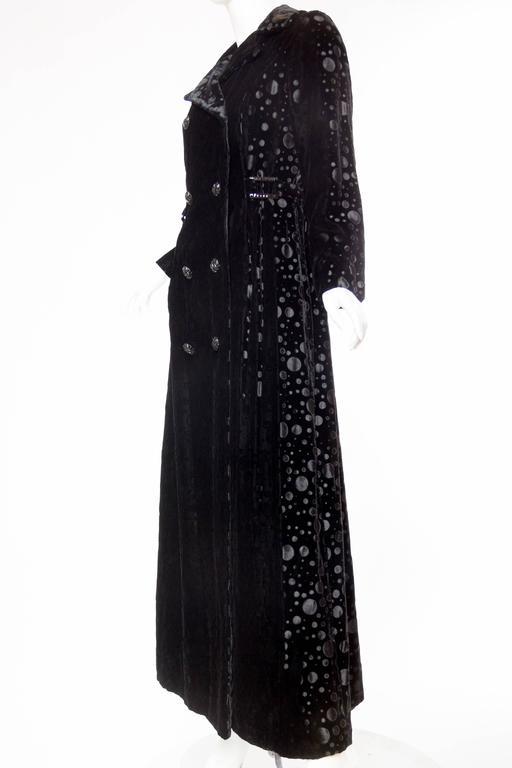 1960s Embossed Velvet Maxi Coat At 1stdibs