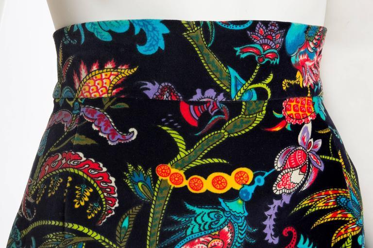1960s Exotic Printed Velvet Miniskirt  5