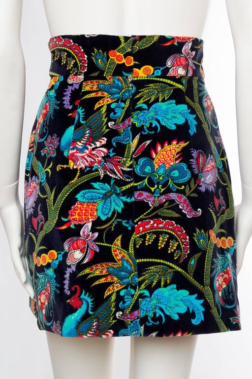 1960s Exotic Printed Velvet Miniskirt  4