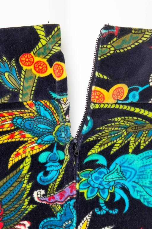 1960s Exotic Printed Velvet Miniskirt  6