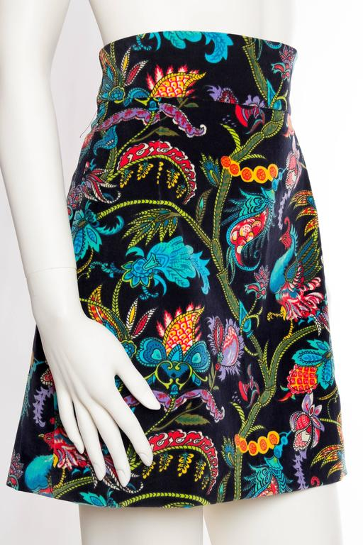 1960s Exotic Printed Velvet Miniskirt  3