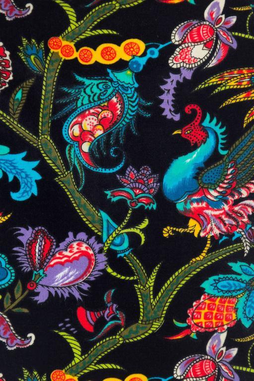 1960s Exotic Printed Velvet Miniskirt  7