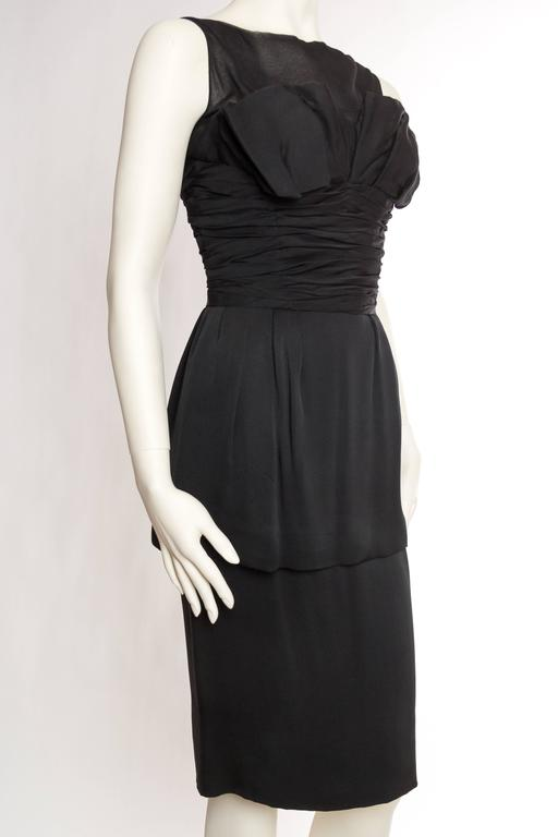 Black 1950s Christian Dior Cocktail Dress For Sale