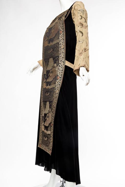 Women's Black Antique Silk Velvet Gown With Edwardian Embroidered Sleeves & 19Th Centur For Sale