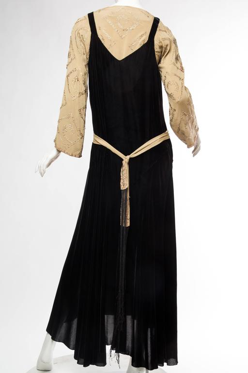 Black Antique Silk Velvet Gown With Edwardian Embroidered Sleeves & 19Th Centur For Sale 1