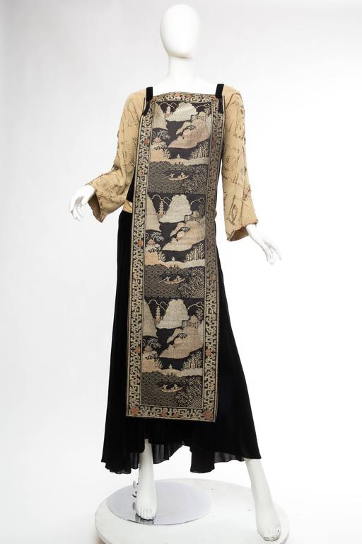 Black Antique Silk Velvet Gown With Edwardian Embroidered Sleeves & 19Th Century Japanese Scenic Panel