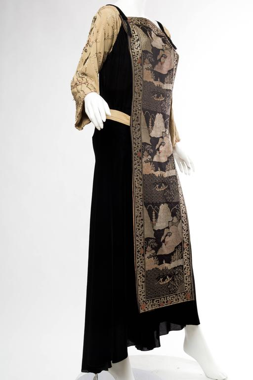 Black Antique Silk Velvet Gown With Edwardian Embroidered Sleeves & 19Th Centur In Excellent Condition For Sale In New York, NY