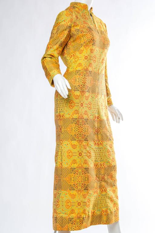 1960s Adele Simpson Chinese Inspired Dress In Excellent Condition For Sale In New York, NY