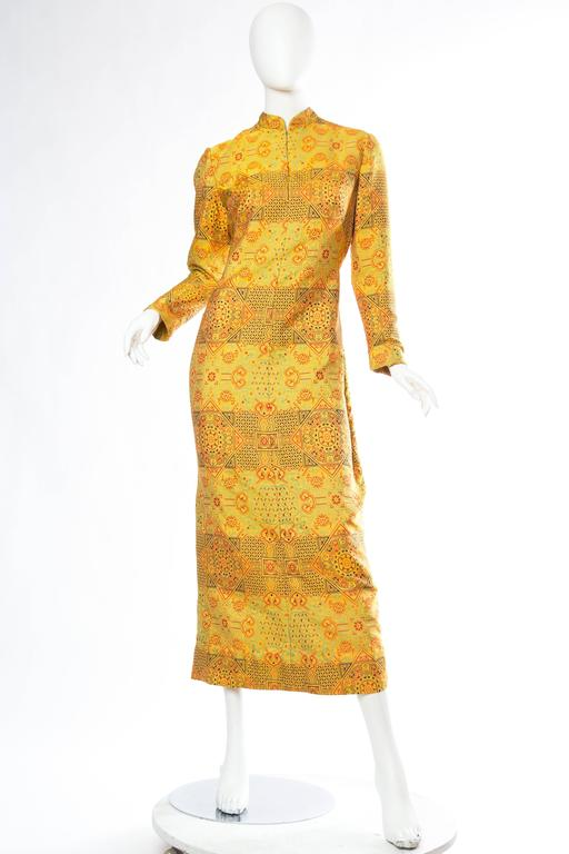 Orange 1960s Adele Simpson Chinese Inspired Dress For Sale