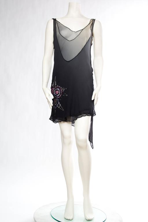 Black Late 1990s Deconstructivist Flapper style dress with Swarovski Crystals For Sale