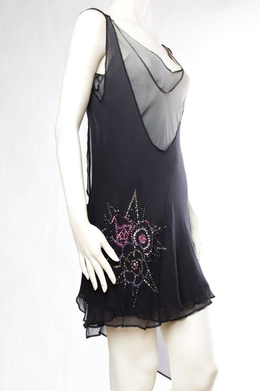 Late 1990s Deconstructivist Flapper style dress with Swarovski Crystals In Excellent Condition For Sale In New York, NY