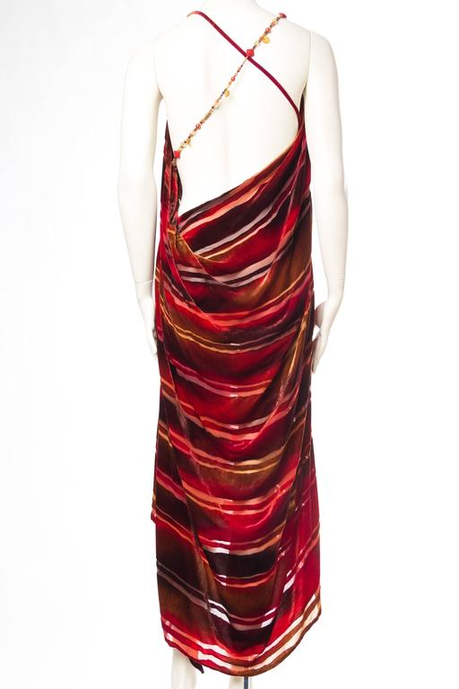 Women's 1990s Backless Hand Painted Silk Velvet Dress with Gold Beads For Sale