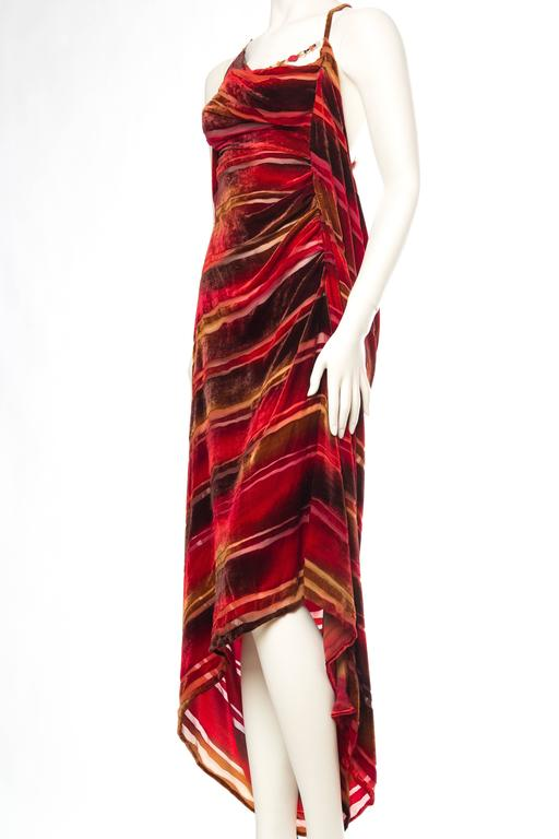 1990s Backless Hand Painted Silk Velvet Dress with Gold Beads In Excellent Condition For Sale In New York, NY