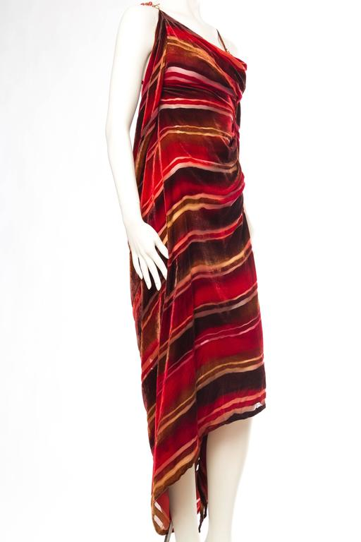 Red 1990s Backless Hand Painted Silk Velvet Dress with Gold Beads For Sale