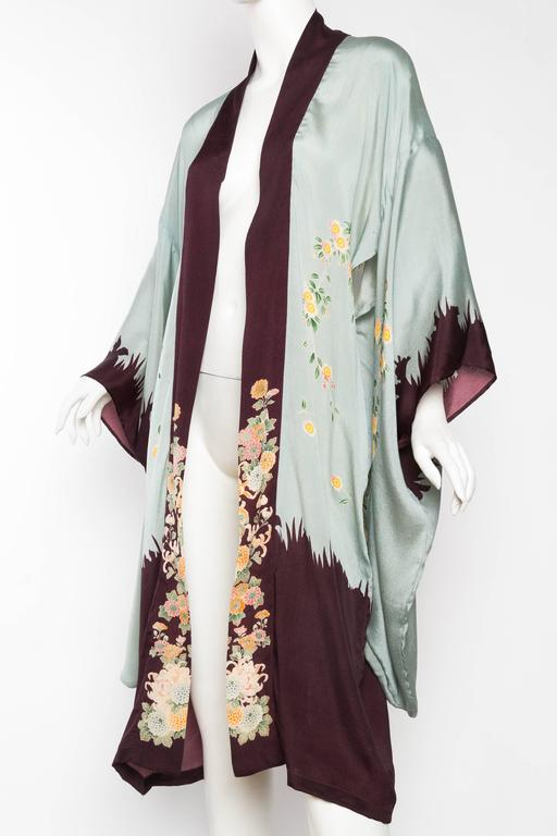 Women's 1920s Printed Silk Kimono For Sale