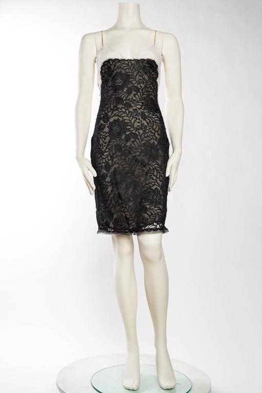 Black Geoffrey Beene Backless Sheer Lace Dress For Sale