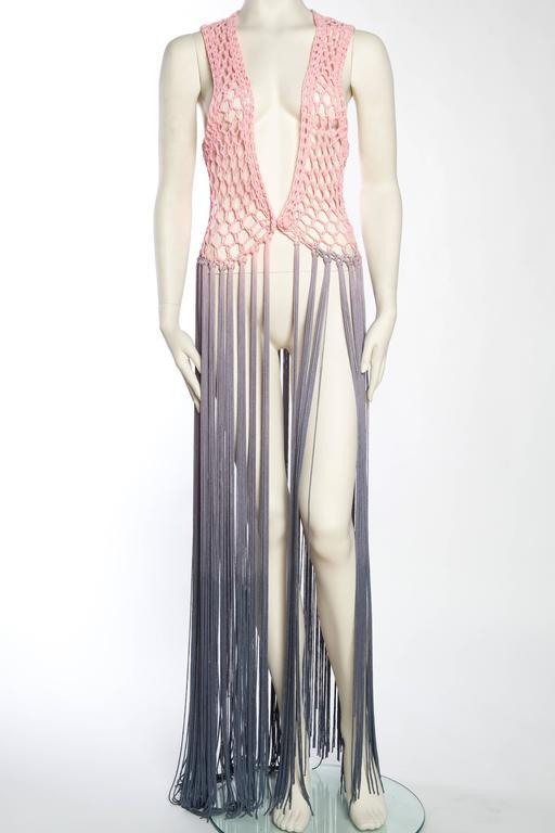 Gray Dip-Dyed Crochet Boho Vest with Floor Length Fringe For Sale