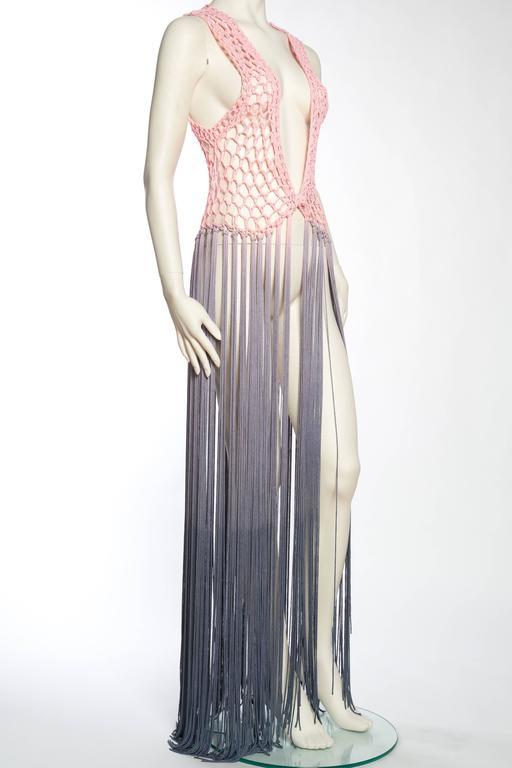 Women's Dip-Dyed Crochet Boho Vest with Floor Length Fringe For Sale