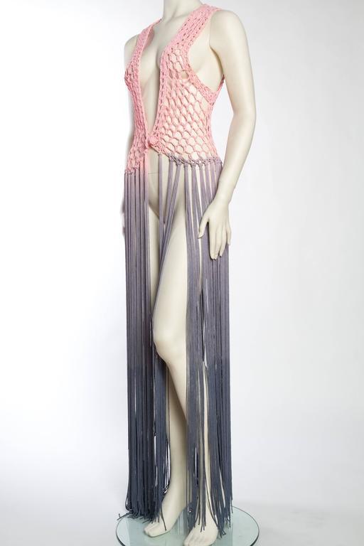 Dip-Dyed Crochet Boho Vest with Floor Length Fringe For Sale 1
