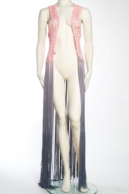 Dip-Dyed Crochet Boho Vest with Floor Length Fringe In Excellent Condition For Sale In New York, NY
