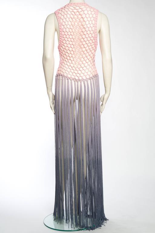 Dip-Dyed Crochet Boho Vest with Floor Length Fringe For Sale 2