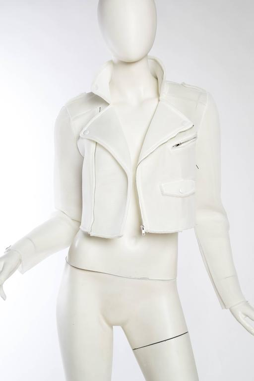 Gray Balenciaga Prototype Net Biker Jacket by Nicolas Ghesquiere For Sale