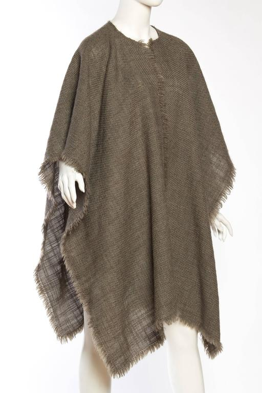 Gray Delicate Wool Poncho by Giorgio Armani For Sale