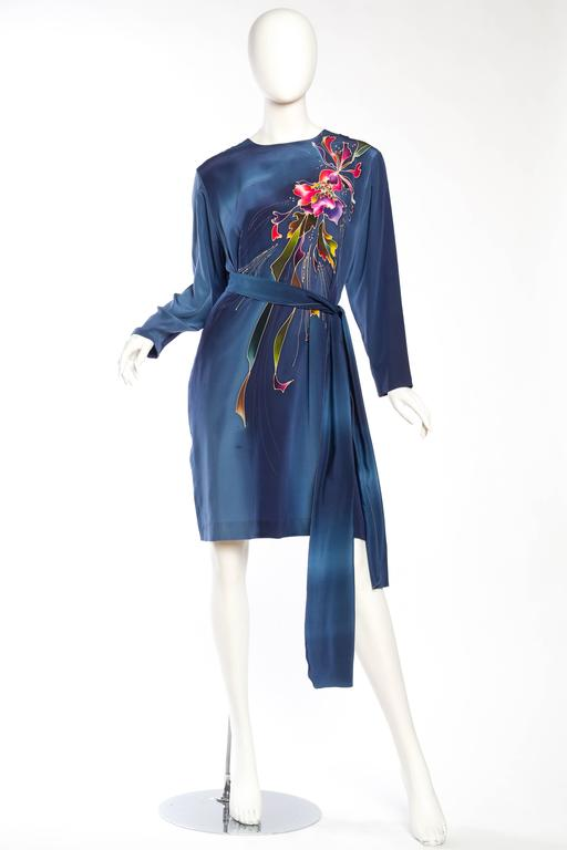 Purple 1980S Blue  & Pink Silk Crepe De Chine Hand Painted Tunic Dress For Sale