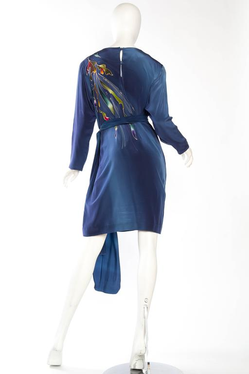 1980S Blue  & Pink Silk Crepe De Chine Hand Painted Tunic Dress For Sale 3