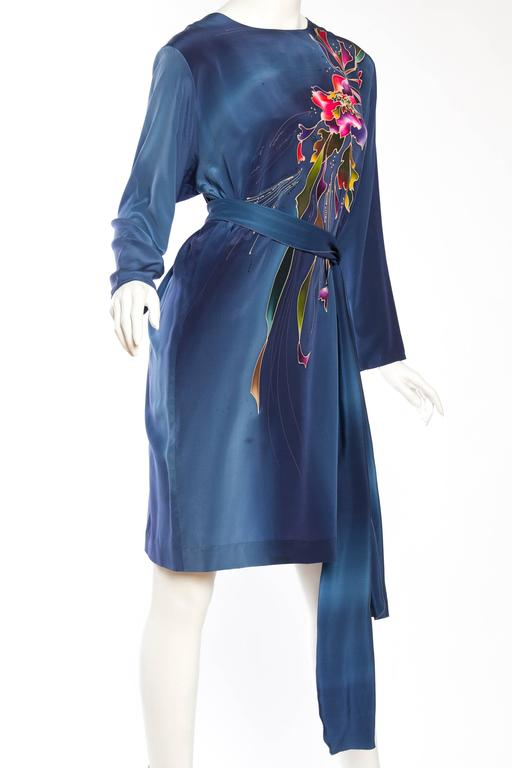 Women's 1980S Blue  & Pink Silk Crepe De Chine Hand Painted Tunic Dress For Sale