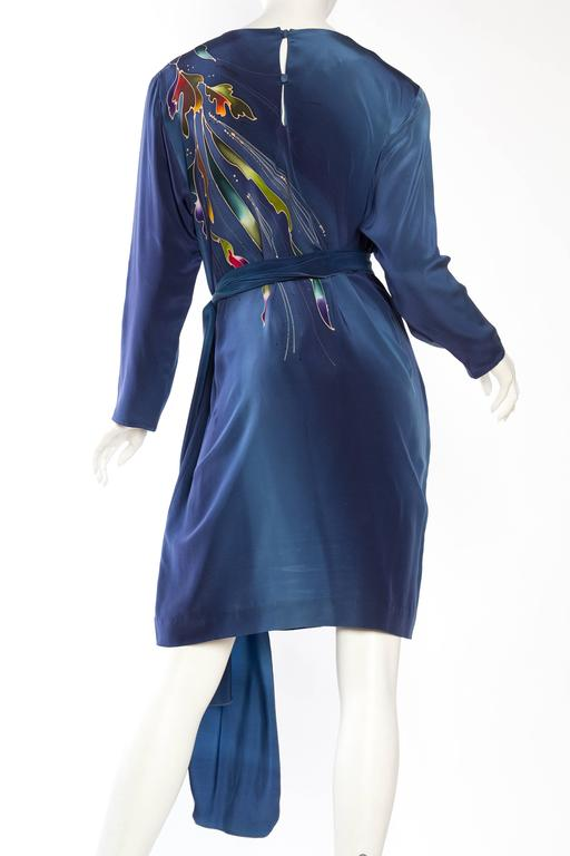 1980S Blue  & Pink Silk Crepe De Chine Hand Painted Tunic Dress For Sale 2