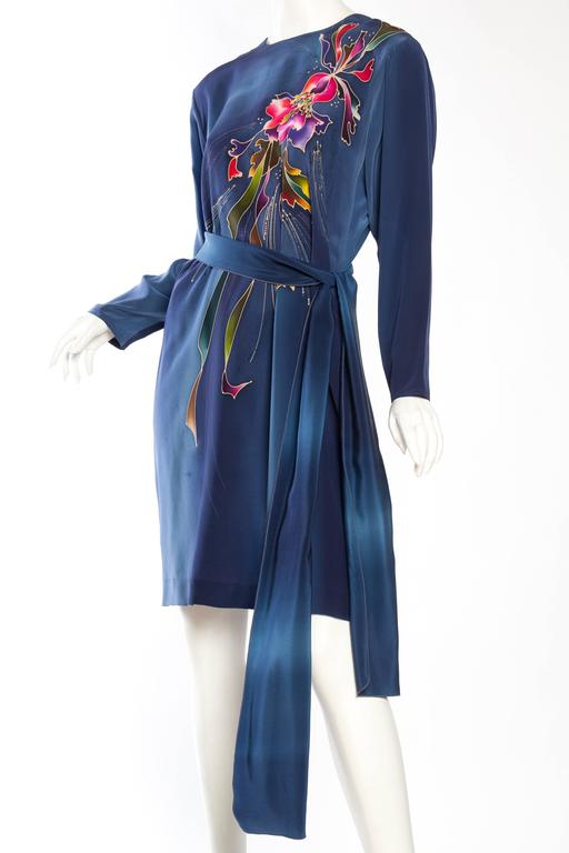 1980S Blue  & Pink Silk Crepe De Chine Hand Painted Tunic Dress For Sale 1
