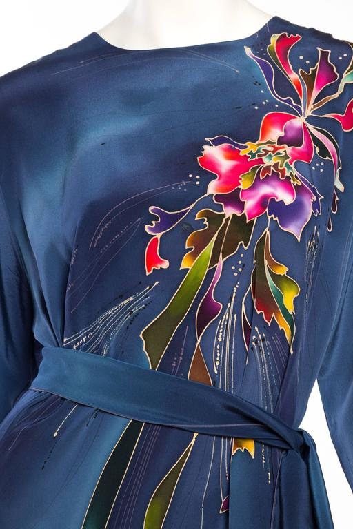 1980S Blue  & Pink Silk Crepe De Chine Hand Painted Tunic Dress For Sale 4