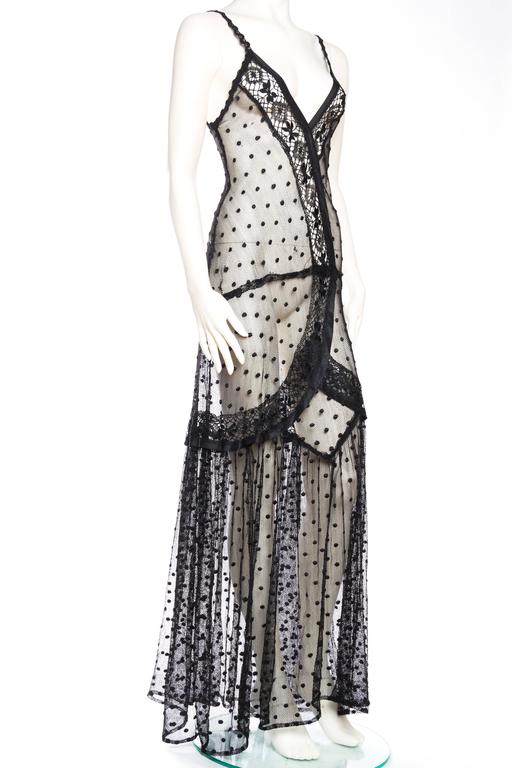 Silk Net and Lace Edwardian Sheer Black Gown In Excellent Condition For Sale In New York, NY