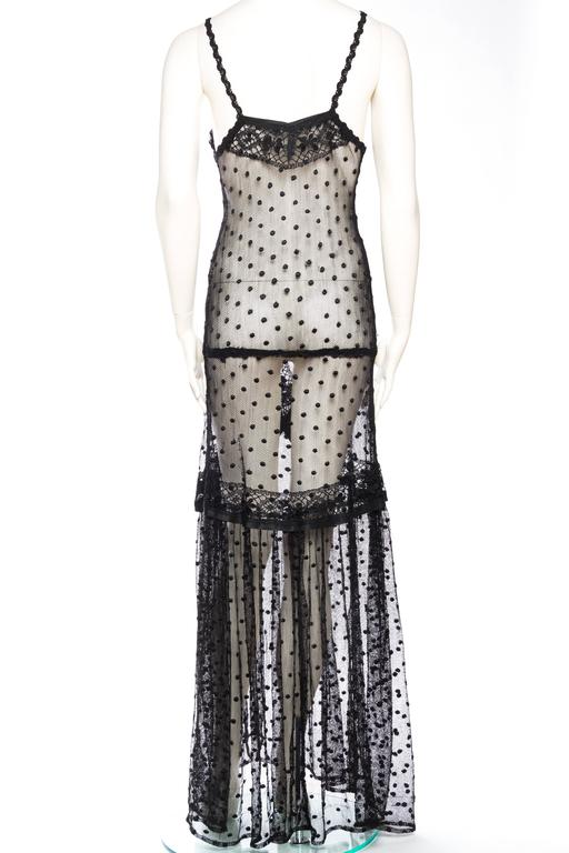 Silk Net and Lace Edwardian Sheer Black Gown For Sale 1