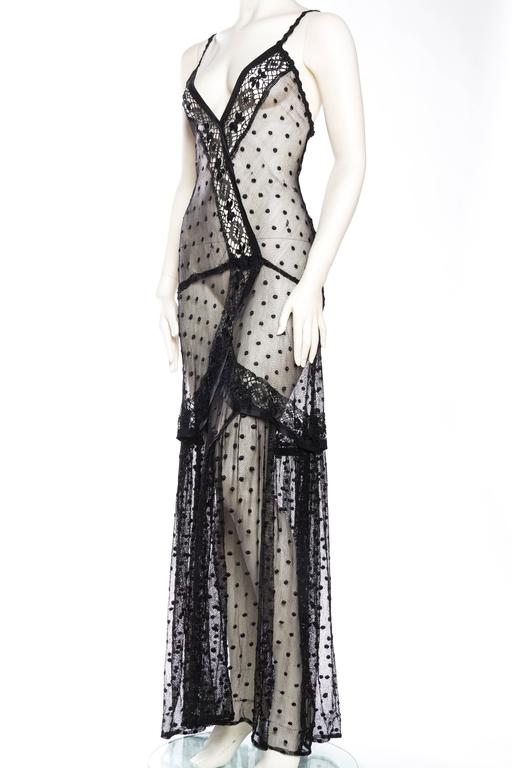Women's Silk Net and Lace Edwardian Sheer Black Gown For Sale