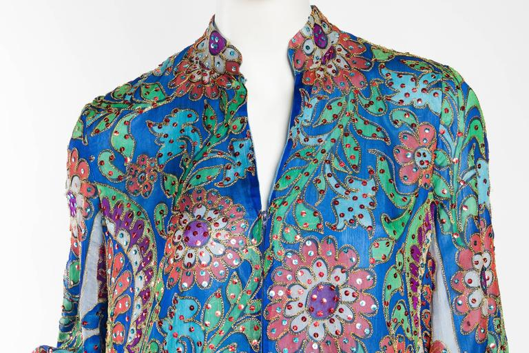 Metal Embroidered Hand Painted Silk Kaftan Dress For Sale 2