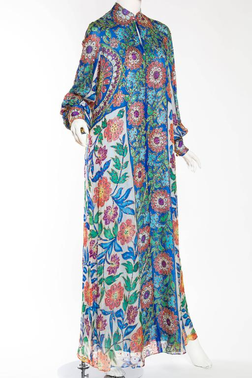 Metal Embroidered Hand Painted Silk Kaftan Dress In Excellent Condition For Sale In New York, NY