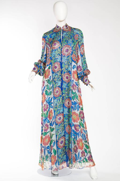 Gray Metal Embroidered Hand Painted Silk Kaftan Dress For Sale