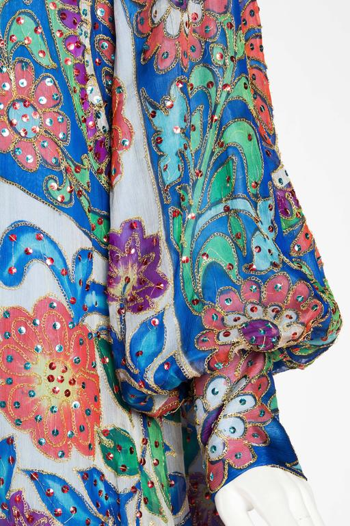 Metal Embroidered Hand Painted Silk Kaftan Dress For Sale 3