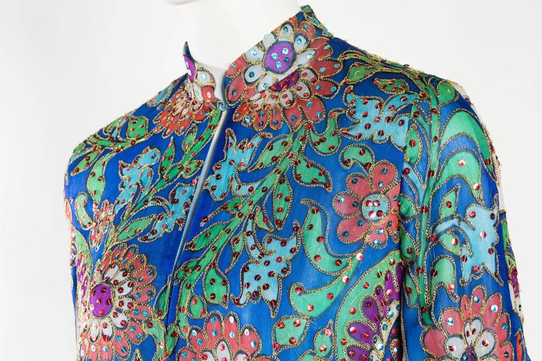 Metal Embroidered Hand Painted Silk Kaftan Dress For Sale 1