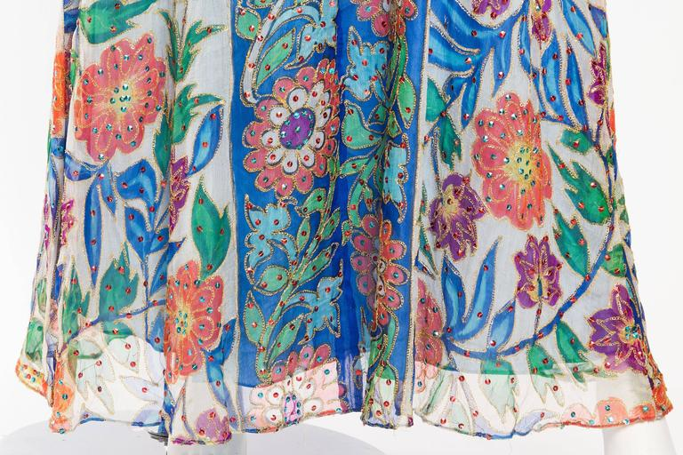 Metal Embroidered Hand Painted Silk Kaftan Dress For Sale 4