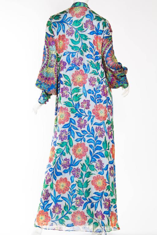 Women's Metal Embroidered Hand Painted Silk Kaftan Dress For Sale