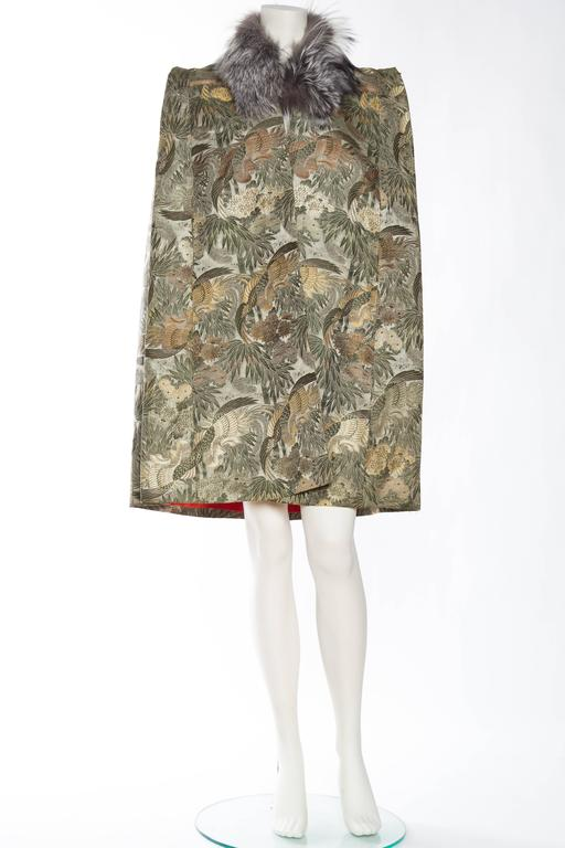 1940s Cape made from Antique Japanese Silk Jacquard with Fur 2