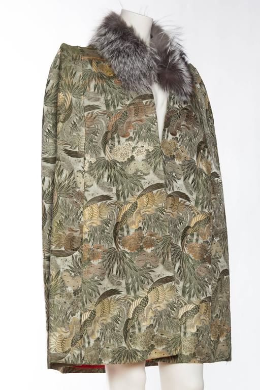 Gray 1940s Cape made from Antique Japanese Silk Jacquard with Fur For Sale