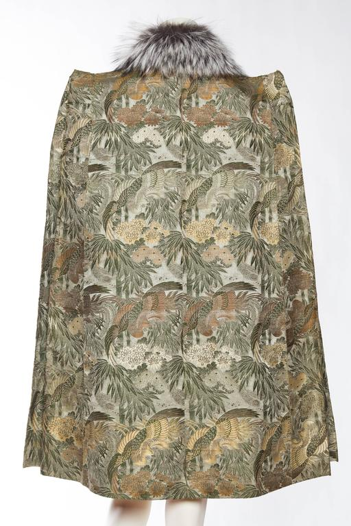 Women's 1940s Cape made from Antique Japanese Silk Jacquard with Fur For Sale