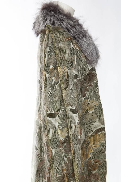 1940s Cape made from Antique Japanese Silk Jacquard with Fur For Sale 1