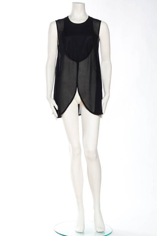 Black Giorgio Armani Crepe Tunic Blouse For Sale