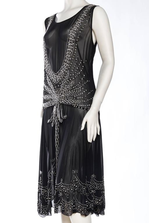 Sheer Silk Chiffon 1920s Dress Beaded with Crystals In Excellent Condition For Sale In New York, NY